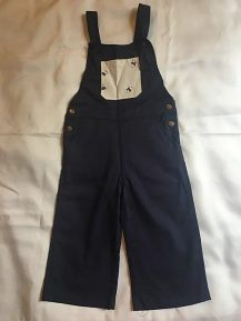 blue with bee pocket overalls